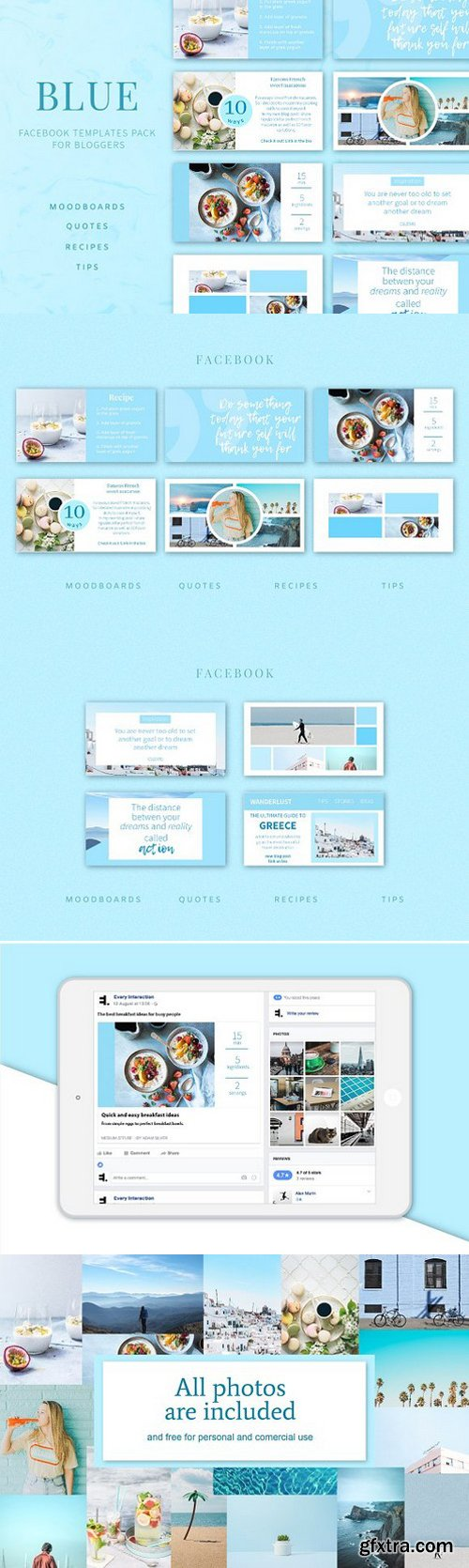 Blue Facebook post templates pack
