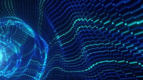 Videohive - 3D Big Data Digital Tunnel Square with Futuristic Matrix - 33719393 - 33719393