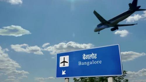 Videohive - Airplane landing at Bangalore India airport - 33720137 - 33720137
