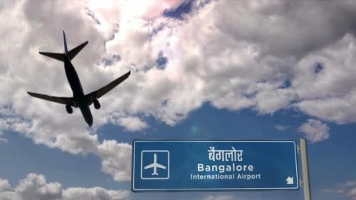 Videohive - Airplane landing at Bangalore India airport - 33720138 - 33720138