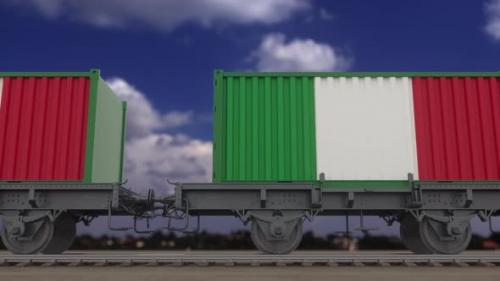 Videohive - Train and Containers with the Flag of Italy - 33720421 - 33720421