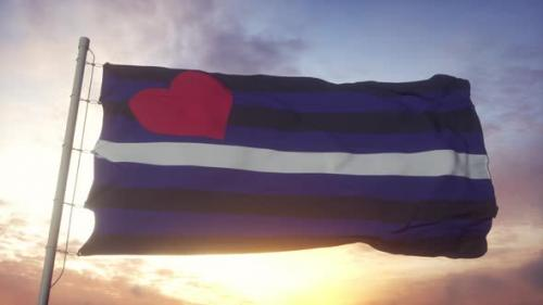 Videohive - Leather Latex Pride Flag Waving in the Wind Sky and Sun Background - 33720432 - 33720432