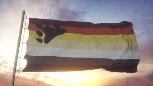 Videohive - Bear Brotherhood Pride Flag Waving in the Wind Sky and Sun Background - 33720448 - 33720448