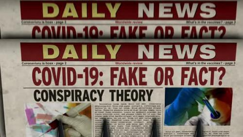 Videohive - Covid-19 pandemic news fake or fact newspaper printing press - 33721501 - 33721501