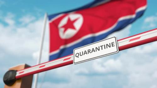 Videohive - Open Gate with QUARANTINE Sign at the North Korean Flag - 33721556 - 33721556