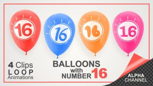 Videohive - Balloons With Number 16 / Happy Sixteen Years Old - 33727666 - 33727666