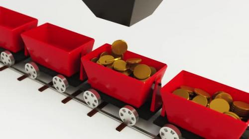 Videohive - 3D animation in the red car fall gold coins - 33727698 - 33727698