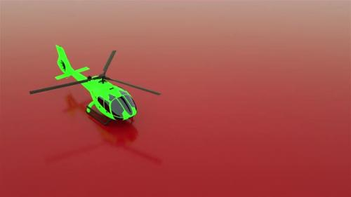 Videohive - 3D realistic animation helicopter stands on a red background and spinning blades looped animation - 33727701 - 33727701