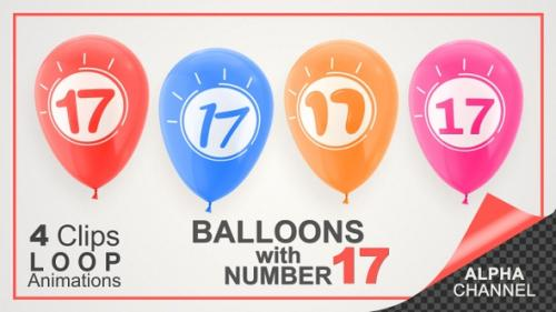 Videohive - Balloons With Number 17 / Happy Seventeen Years Old - 33727923 - 33727923