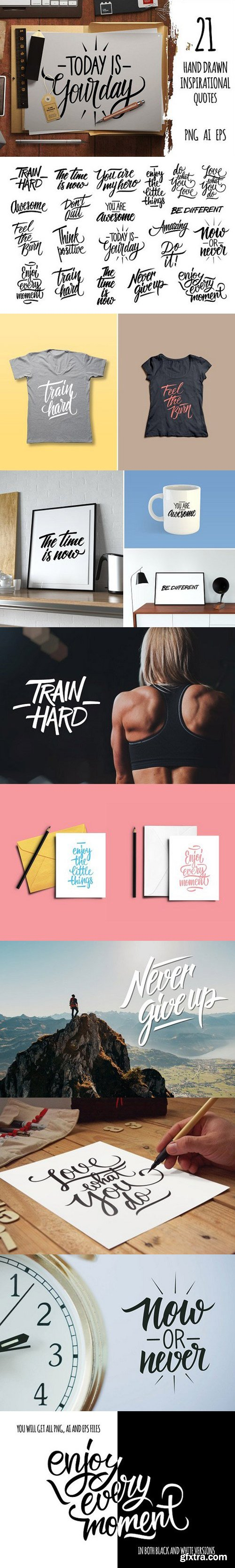 Hand drawn inspirational quotes