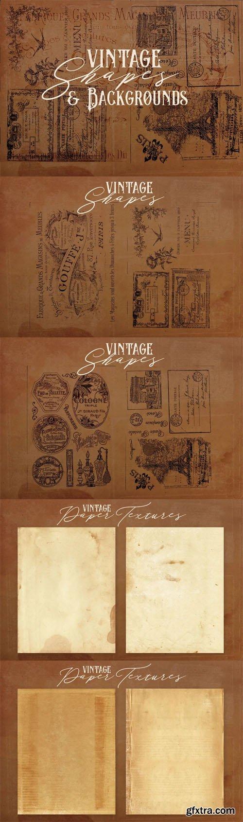 8 Vintage Badge Shapes & Grunge Paper Textures