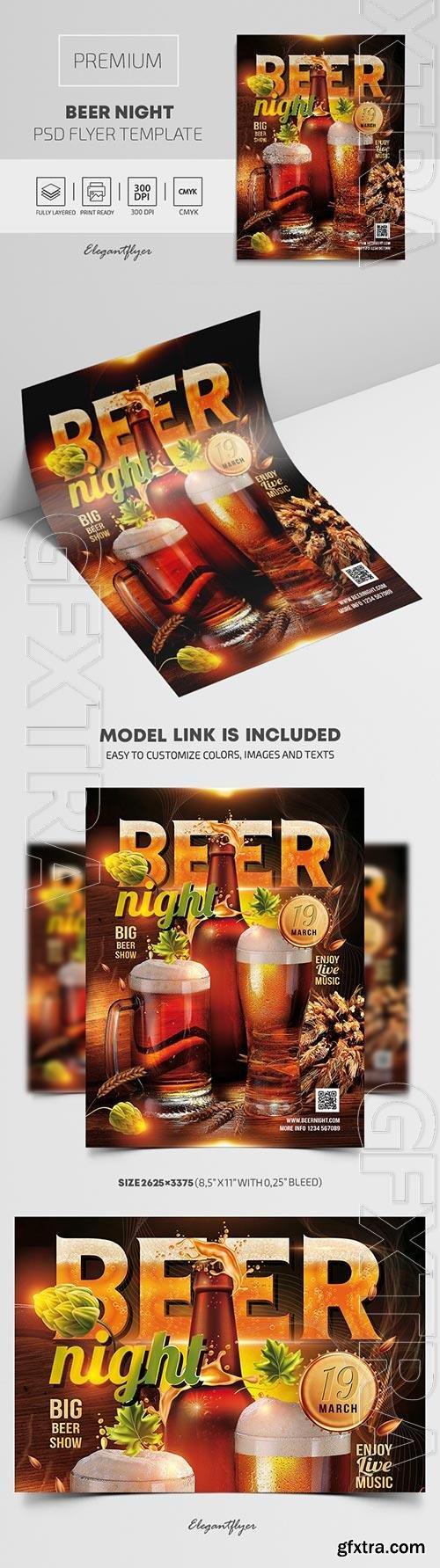 Beer Night Premium PSD Flyer Template
