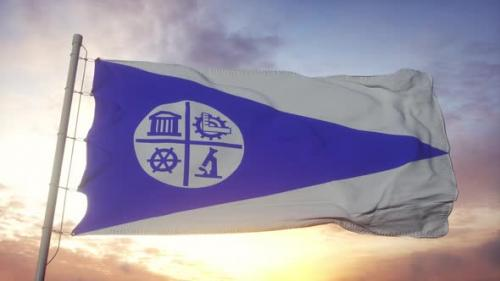 Videohive - Minneapolis City Flag United States Waving in the Wind Sky and Sun Background - 33809310 - 33809310