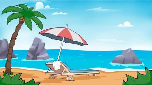 Videohive - Animation of beach with sun bed lounger and umbrella. - 33828434 - 33828434