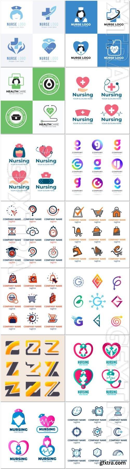 Set vector logo template collection