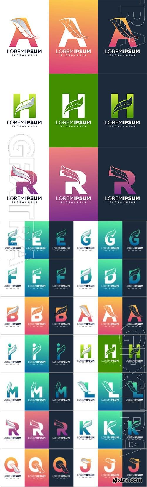 Modern letter with feather logo design Premium Vector