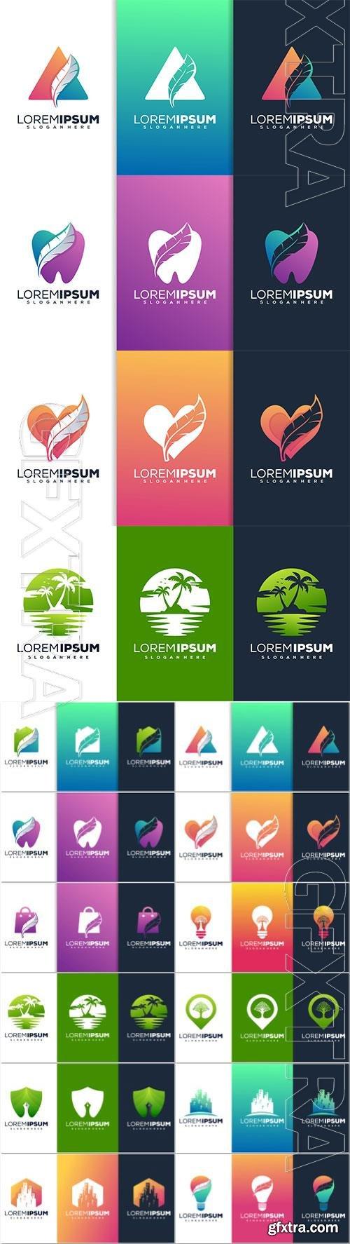 Modern with feather logo design Premium Vector