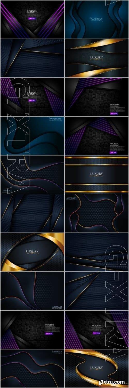 Luxury dark navy combination with golden lines background graphic element