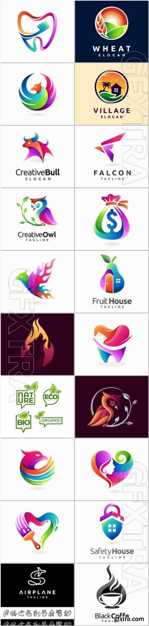 Creative logo design with gradient color concept premium vector
