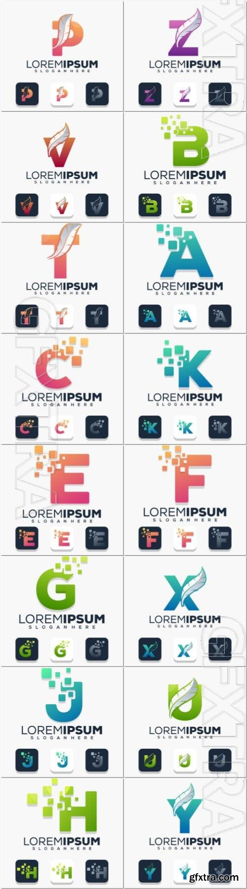 Colorful letter with digital logo template Premium Vector
