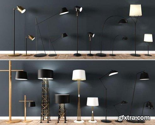 Modern metal floor lamp table lamp combination