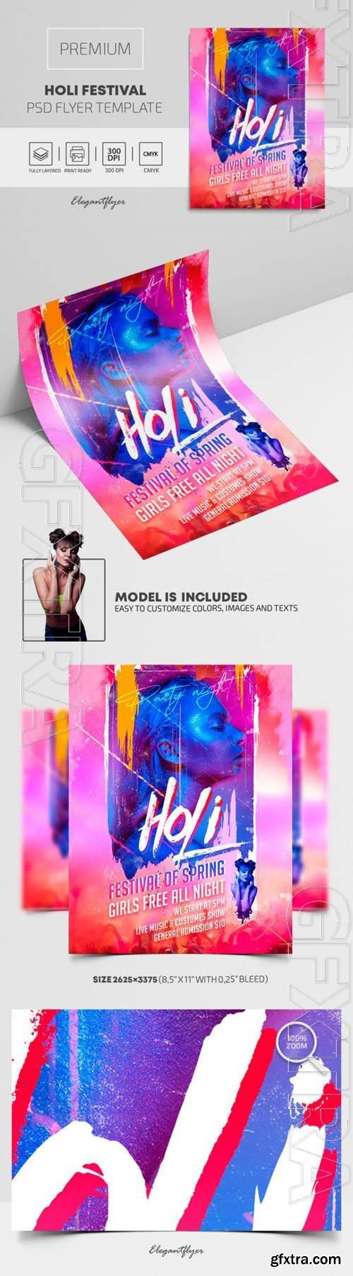 Holi Festival Premium PSD Flyer Template