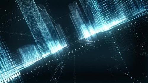 Videohive - Blue Digital City Seamless Loop - 33838847 - 33838847