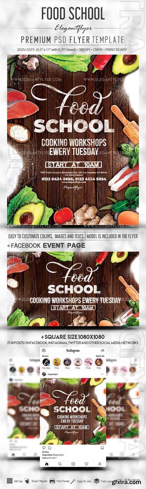 Food School PSD Flyer Template  Facebook Cover Instagram Post