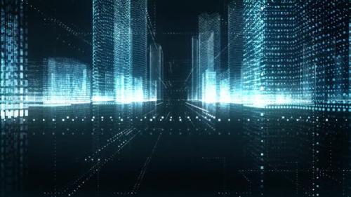 Videohive - Digital Blue City Seamless Loop - 33838848 - 33838848