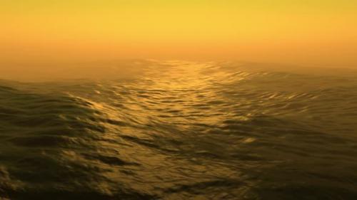 Videohive - Sea storm with huge waves at sunset. 3d render ocean waves - 33839016 - 33839016