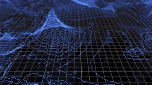 Videohive - Fly Over 3D Glowing Topographical Map - 33841610 - 33841610