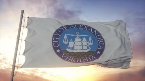 Videohive - Alexandria Flag Virginia Waving in the Wind Sky and Sun Background - 33841752 - 33841752