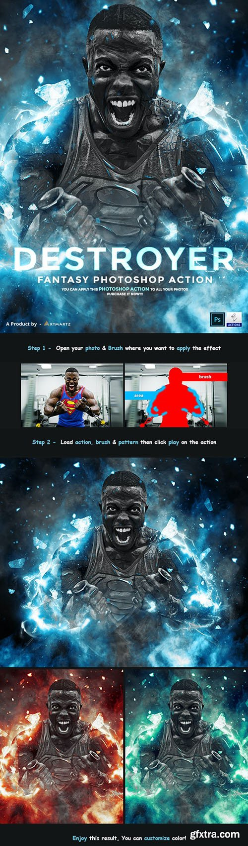 GraphicRiver - Destroyer - Fantasy Photoshop Action 32993878