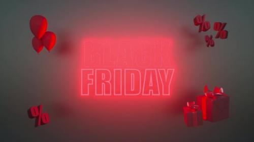 Videohive - 3d animation render. Glowing black friday banner with red neon letters. - 33848093 - 33848093