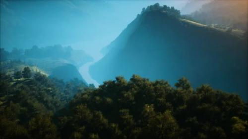 Videohive - Sunrise in Mountains in a Foggy Morning - 33848518 - 33848518