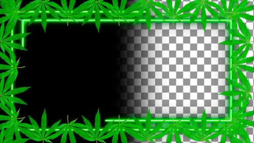 Videohive - Cannabis Neon Frame. Alpha Channel - 33849934 - 33849934