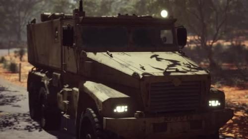 Videohive - Convoy Armored Vehicle on the Road - 33850890 - 33850890