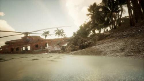 Videohive - Old Rusted Military Helicopter Near the Island - 33850901 - 33850901