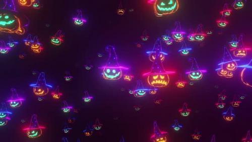 Videohive - Halloween Background Glowing Pumpkins - 33852504 - 33852504