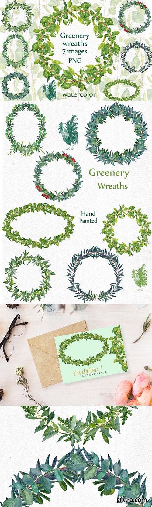 Watercolor Fern Wreaths clipart
