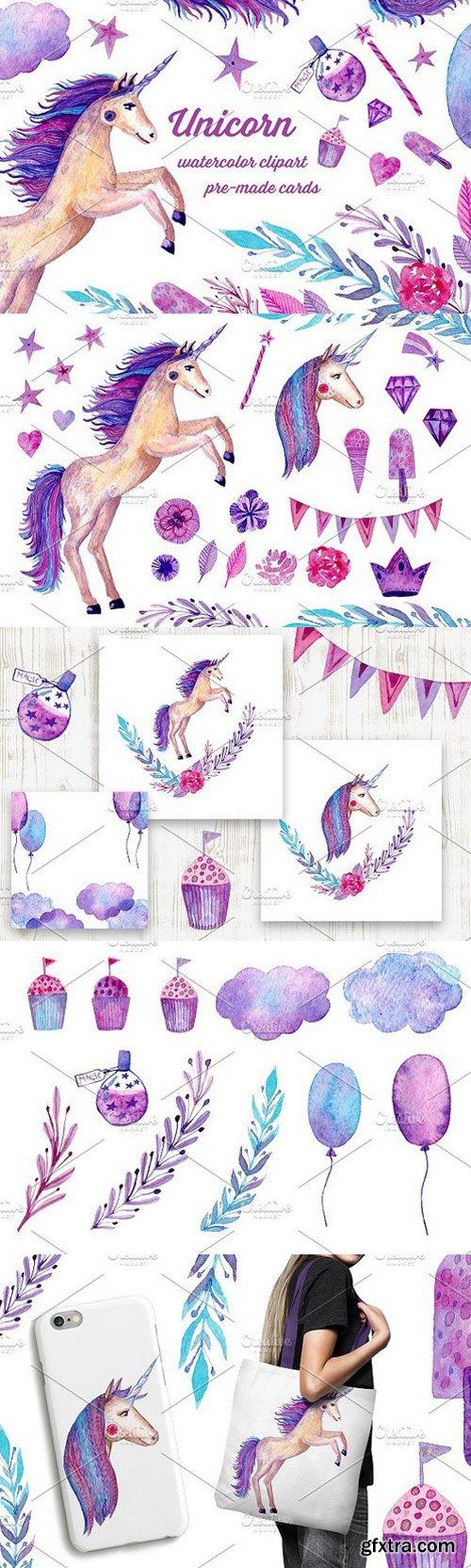 Watercolor Unicorn set