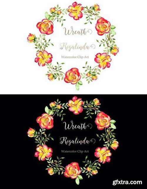 Wreath Rosalinda Watercolor clip art
