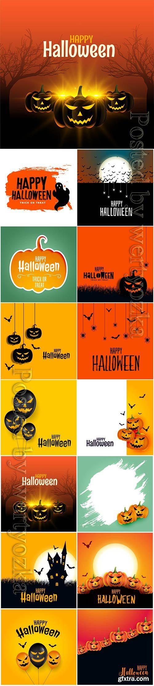 Happy halloween with scary pumpkins on spooky card