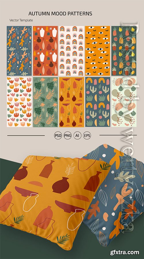 AUTUMN MOOD PATTERNS TEMPLATE IN PSD + VECTOR