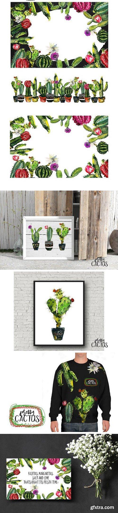 Pretty Cactus Watercolor Clipart Set
