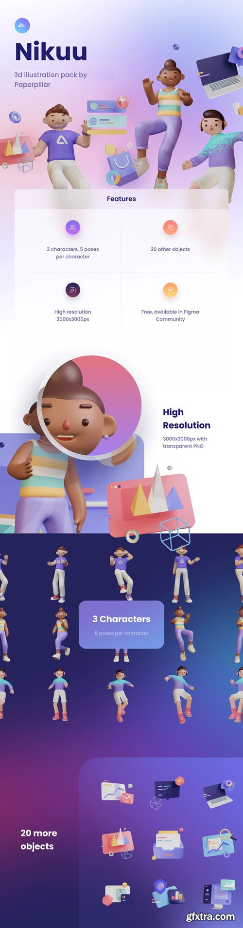 Nikuu - 3D Illustration Pack for Figma