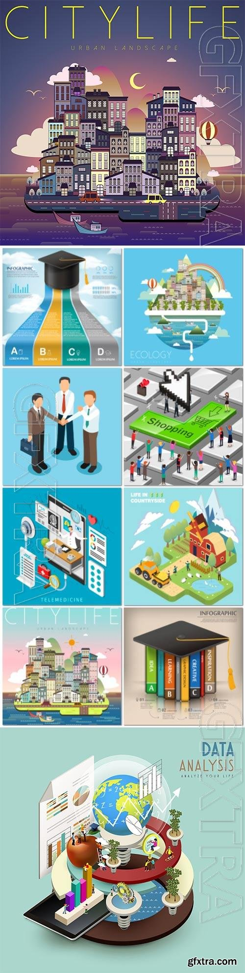Concept in 3d isometric flat design vector template vol 4