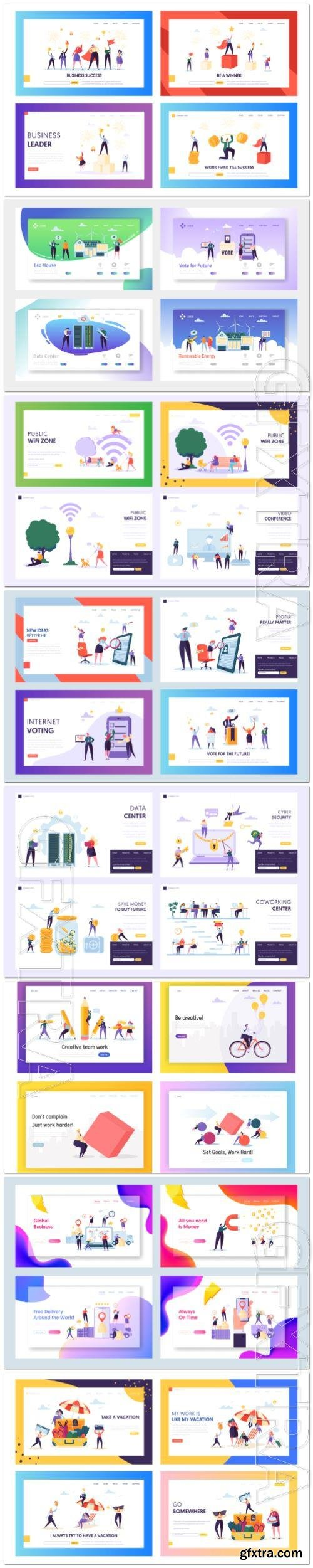 Creative isometric concept set landing page, flat website in vector