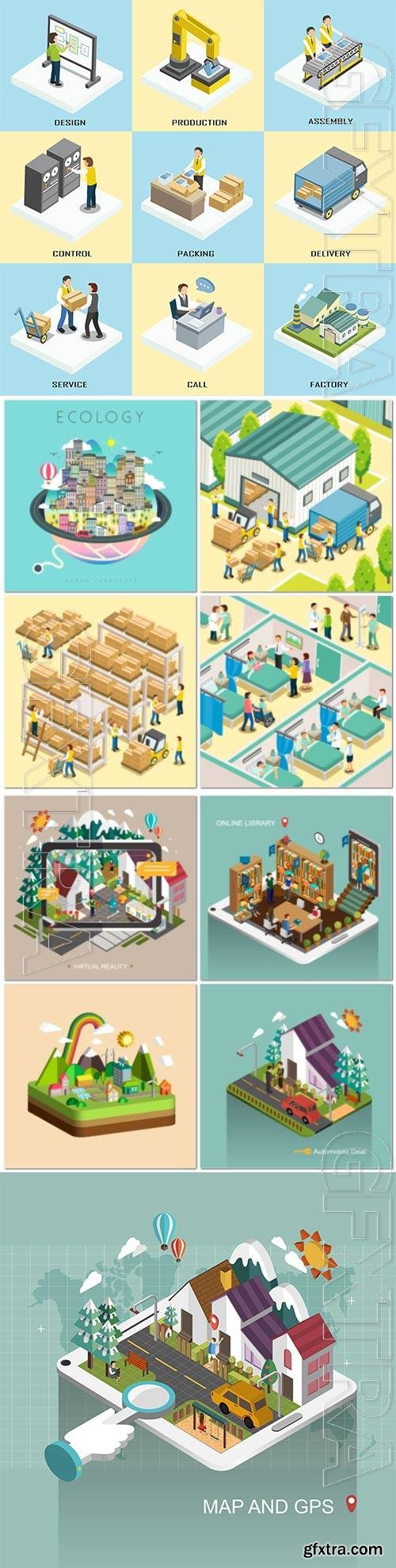 Concept in 3d isometric flat design vector template vol 2