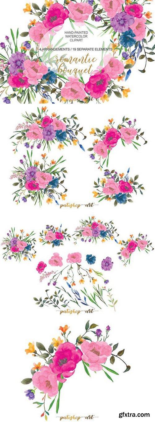 Colorful Romantic Floral Clip Art